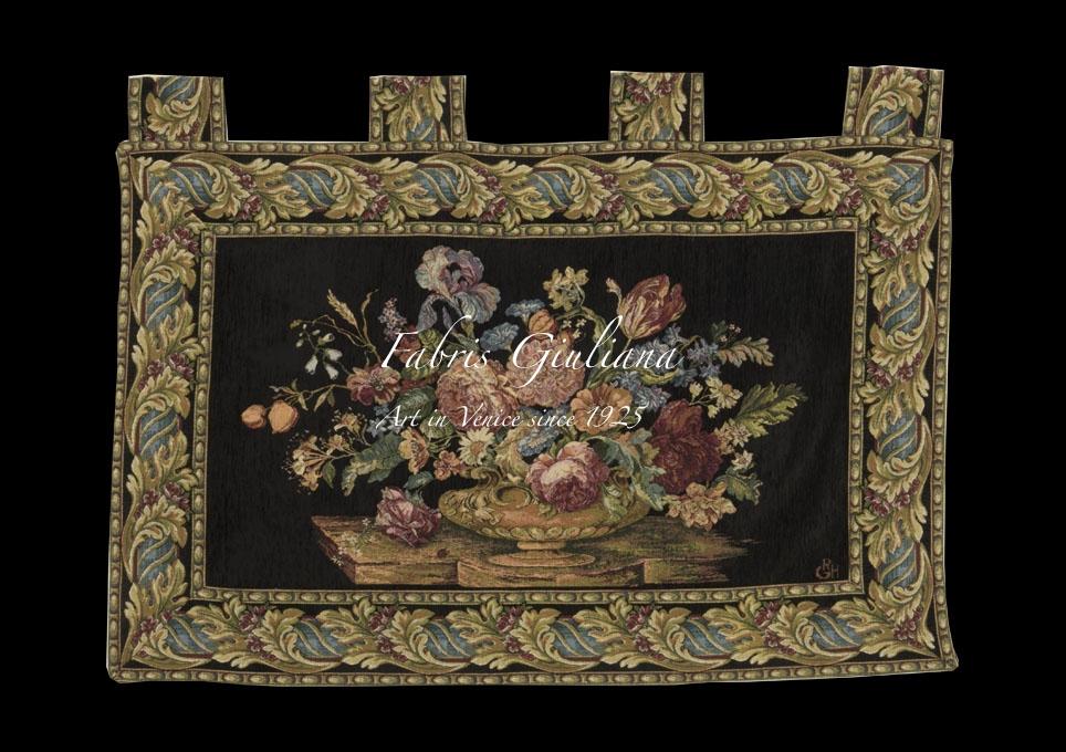 Composition of flowers on black velvet